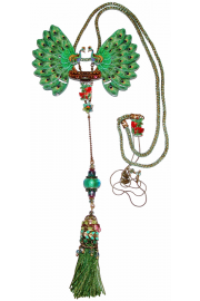 Michal Negrin Peacock Art Deco Necklace