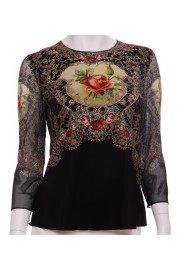 Michal Negrin Black Victorian Roses Long Sleeves Shirt