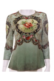 Michal Negrin Moss Green Victorian Roses Long Sleeves Shirt