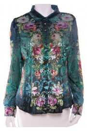 Michal Negrin Button Down Velvet Roses Shirt