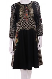 Michal Negrin Victorian Roses Black Dress