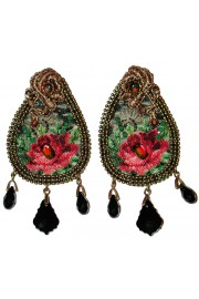 Michal Negrin Painted Roses Fabric Earrings