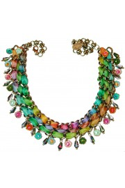 Michal Negrin Multicolor Flowers Fabric Necklace