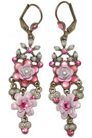 Michal Negrin Misty Pink Pearl Chandelier Earrings