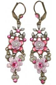 Michal Negrin Misty Pink Pearl Chandelier Earrings