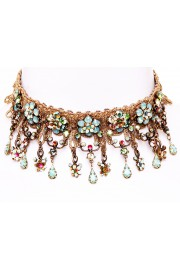 Michal Negrin Gold Lace Crystals Choker Necklace