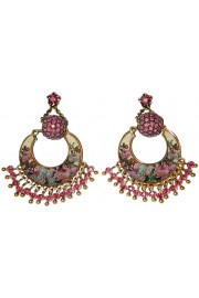 Michal Negrin Purple Roses Crescent Moon Earrings