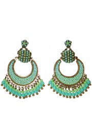 Michal Negrin Turquoise Green Crescent Moon Earrings