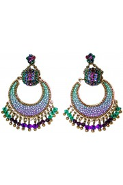 Michal Negrin Purple Green Crescent Moon Earrings
