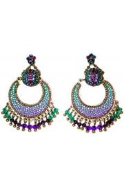 Michal Negrin Purple Green Crescent Moon Earrings