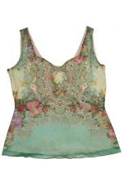 Michal Negrin Green Roses Tank Cami Top
