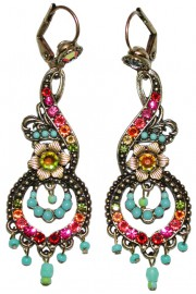 Michal Negrin Multicolor Ornate Boho Earrings