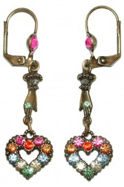 Michal Negrin Multicolor Victorian Heart Hand Earrings