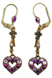 Michal Negrin Purple Victorian Heart Hand Earrings