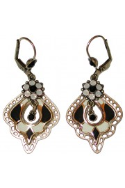 Michal Negrin Black White Grey Vitrage Inspired Earrings