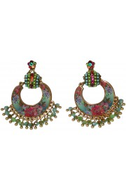 Michal Negrin Multicolor Roses Crescent Moon Earrings