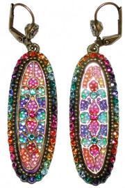 Michal Negrin Multicolor Rainbow Vitrage Inspired Oval Earrings