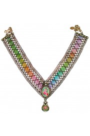 Michal Negrin Multicolor Strand V Shape Rose Cameo Necklace