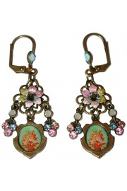 Michal Negrin Pastel Vintage Roses Cameo Earrings