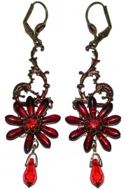 Michal Negrin Red Tropical Flower Earrings