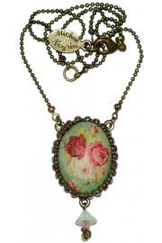 Michal Negrin Multicolor Roses Cabochon Cameo Crystals Necklace