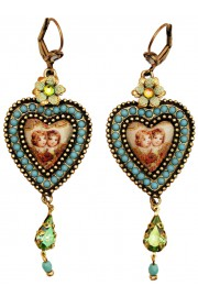 Michal Negrin Cherubs Cameo Crystals Heart Earrings