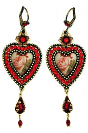 Michal Negrin Red Rose Cameo Crystals Heart Earrings