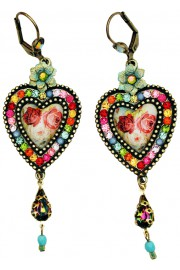 Michal Negrin Multicolor Rose Cameo Crystals Heart Earrings