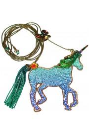 Michal Negrin Blue Green Unicorn Necklace