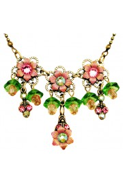 Michal Negrin Pink Green Lily Bells Necklace