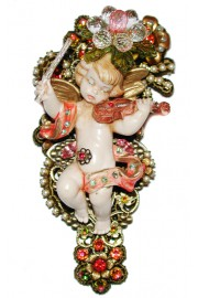 Michal Negrin Antique Cherub Figurine Brooch