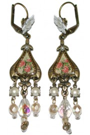 Michal Negrin White Victorian Roses Cameo Earrings