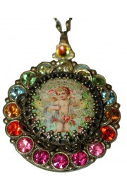 Michal Negrin Multicolor Crystals Cherub Cameo Locket Necklace