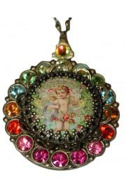 Michal Negrin Multicolor Crystals Cherub Cameo Locket Necklace