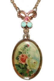 Michal Negrin Gold Plated Roses Cameo Necklace
