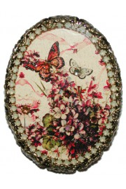 Michal Negrin Butterfly Oval Cameo Brooch