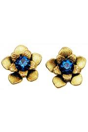 Michal Negrin Blue Gold Flower Stud Earrings