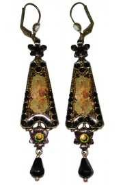 Michal Negrin Black Victorian Roses Triangle Earrings