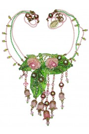 Michal Negrin Vintage Pink Green Roses Necklace