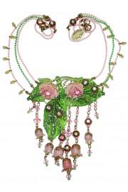 Michal Negrin Vintage Pink Green Roses Necklace
