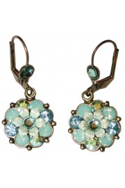 Michal Negrin Sea Green Aqua Crystal Flower Earrings