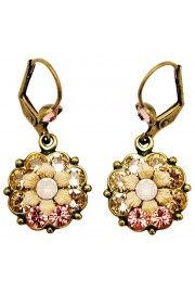 Michal Negrin Pink Peach Crystal Flower Earrings