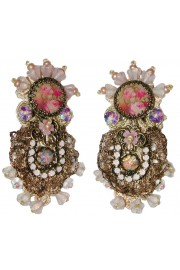 Michal Negrin Embellished Victorian Lace Clip Earrings