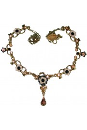 Michal Negrin Black Peach Ornate Necklace