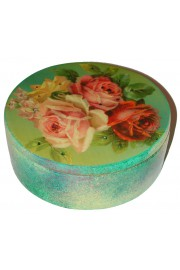 Michal Negrin Multicolor Roses Large Round Jewelry Box
