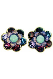 Michal Negrin Blue Purple Garnet Crystal Flower Stud Earrings
