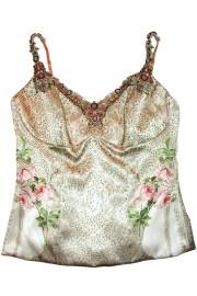 Michal Negrin Vintage Roses Embellished Corset Top