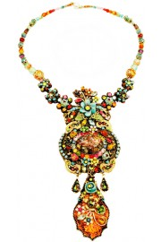 Michal Negrin Multicolor Flowers Cameo Prism Necklace