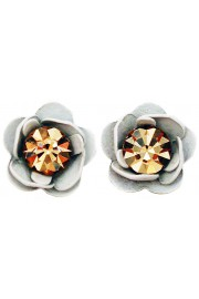 Michal Negrin White Gold Rose Stud Earrings