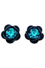 Michal Negrin Blue Turquoise Rose Stud Earrings